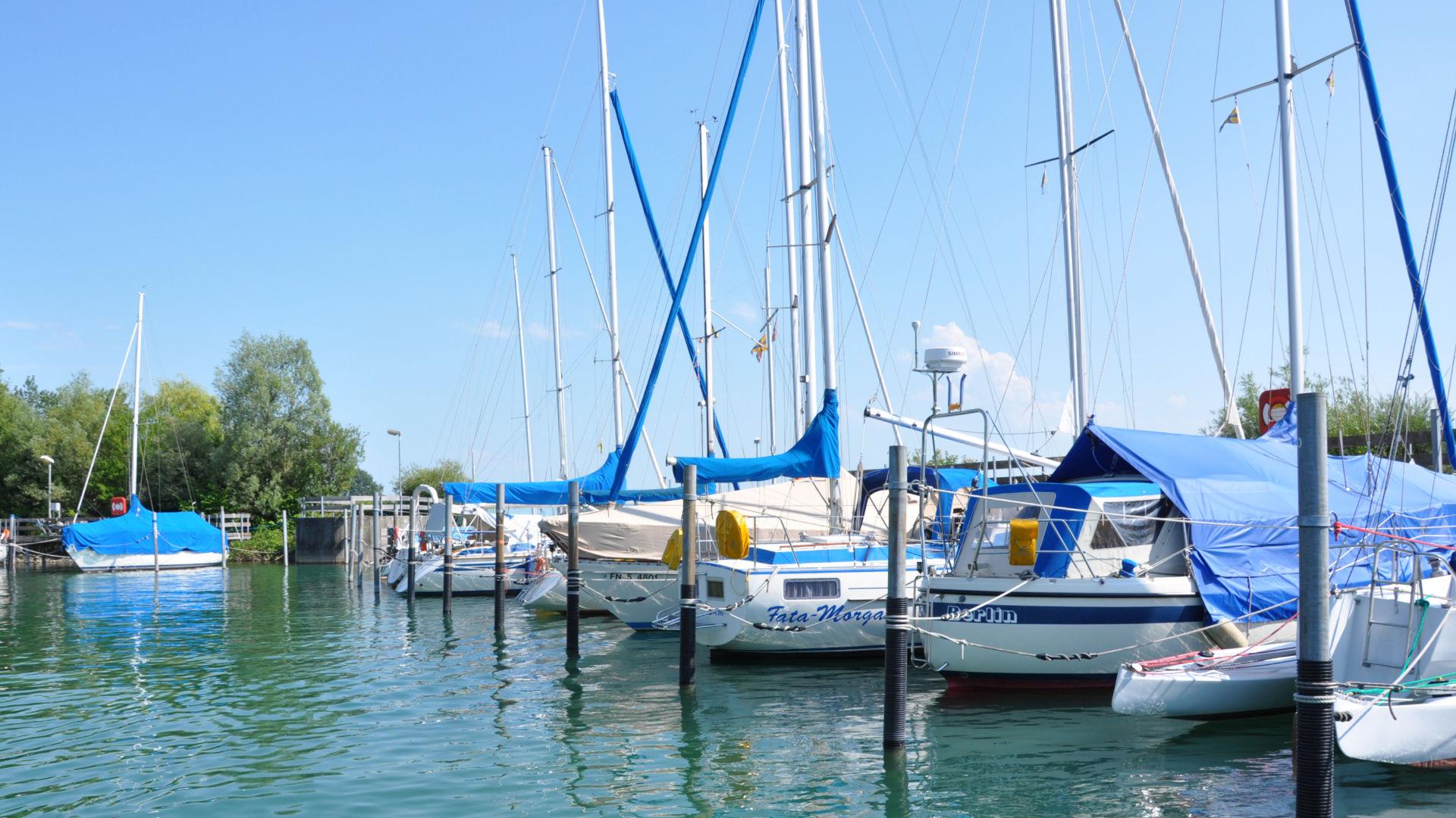 Blick auf Segelschiffe im Hafen Meerburg am Bodensee
