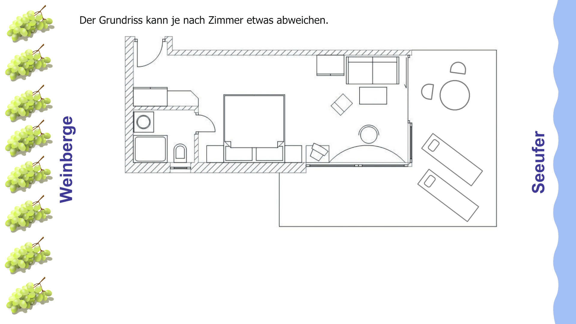 Grundriss Doppelzimmer mit Wohnbereich, Balkon und direktem Seeblick