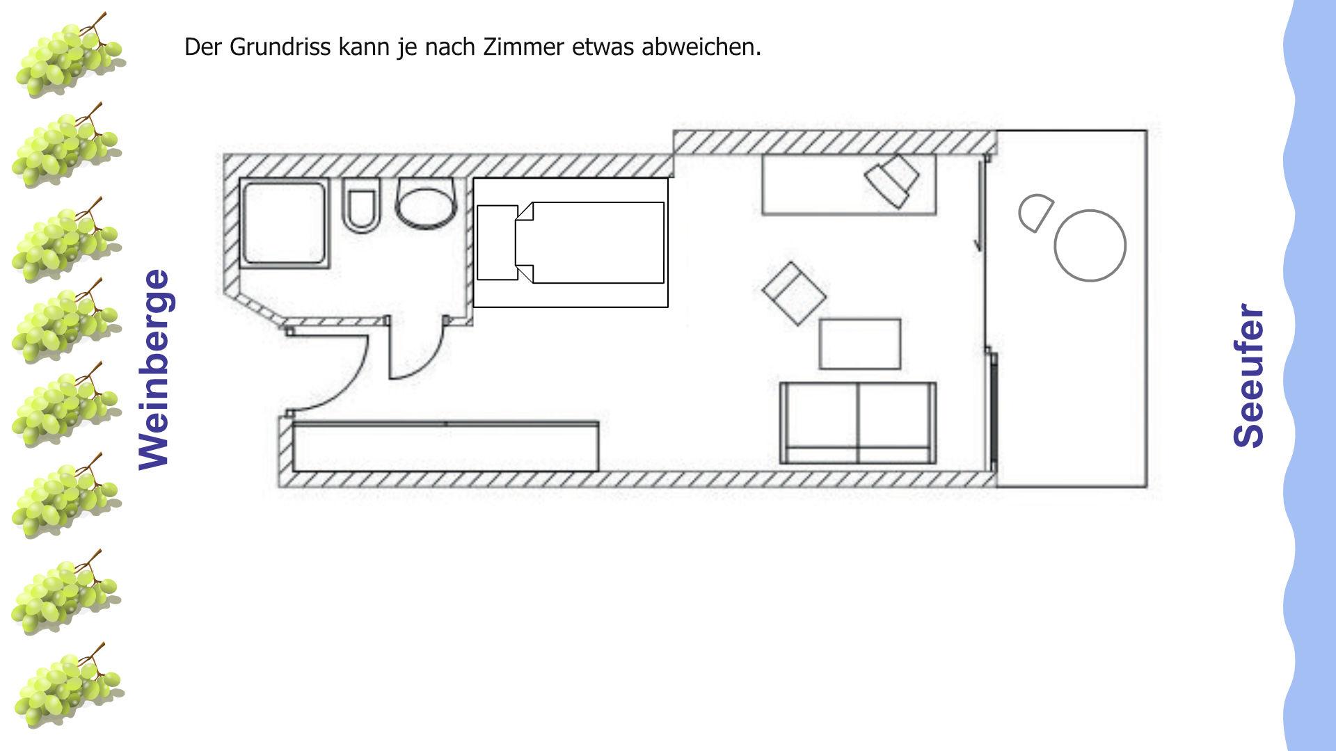 Grundriss Einzelzimmer mit Wohnbereich, Balkon und Seeblick