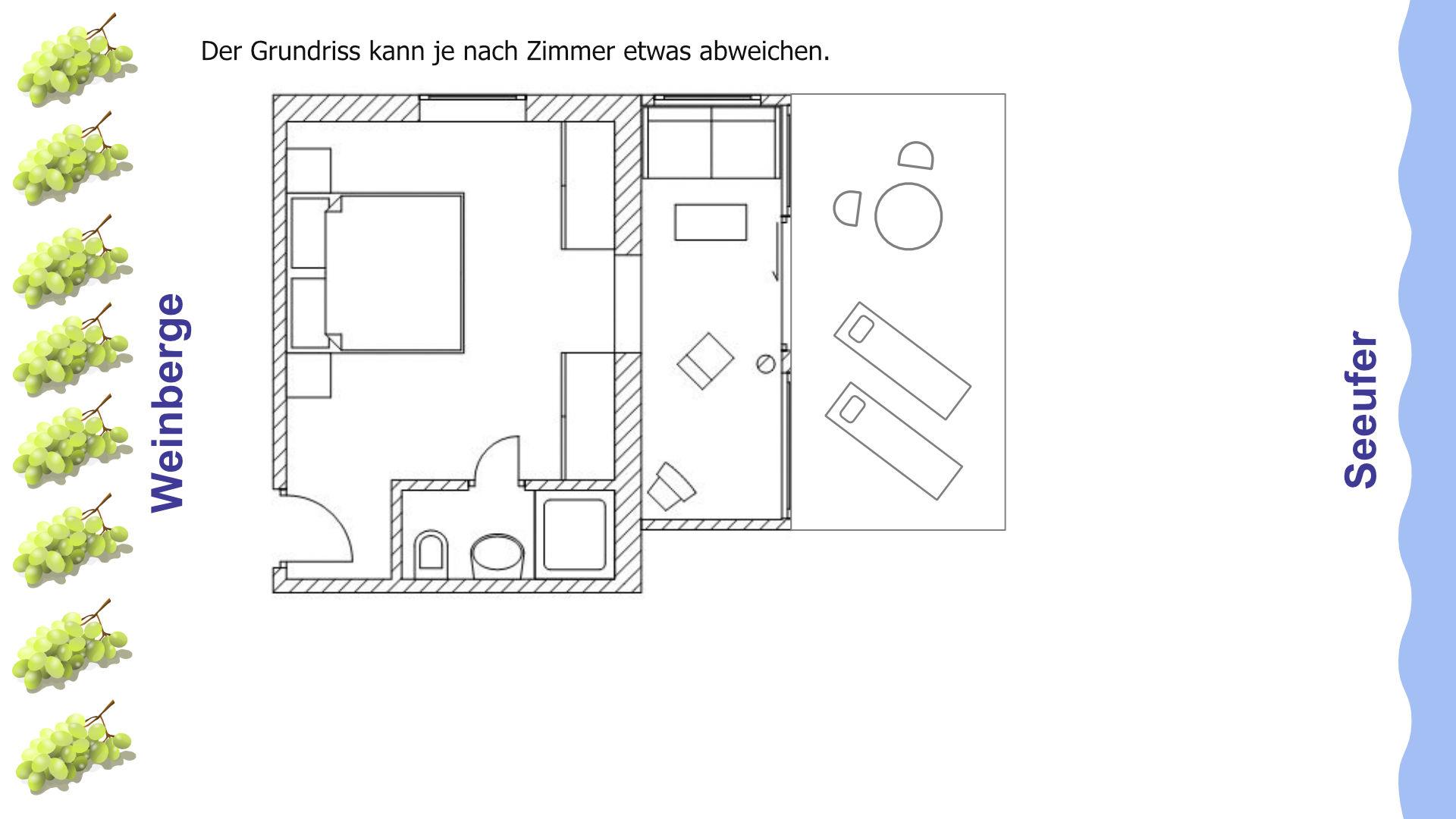 Grundriss der Suiten mit Balkon, Wohnbereich und Blick auf den Bodensee