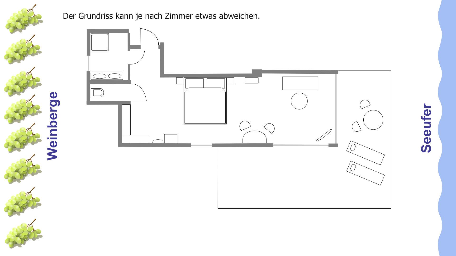 Grundriss der Feng Shui Suite mit Wohnbereich, Balkon und Seesicht