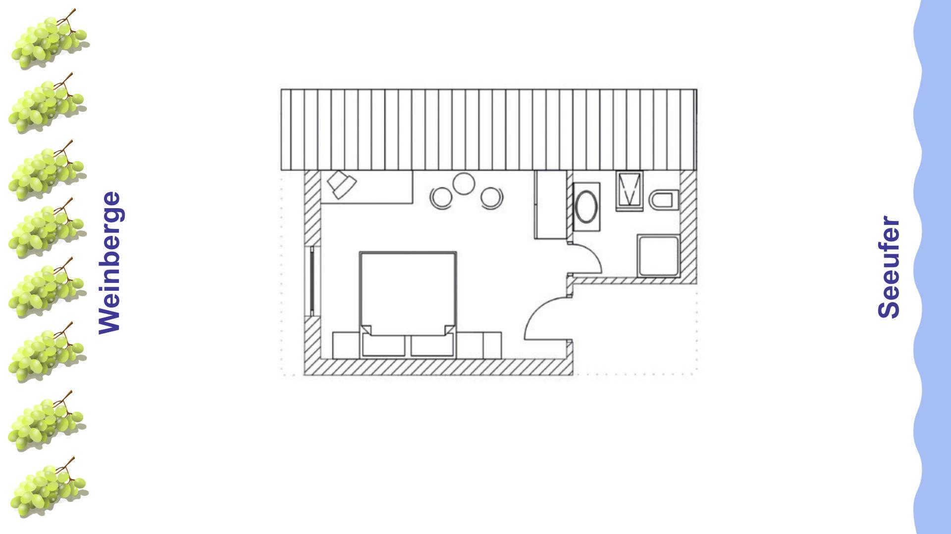 Grundriss Doppelzimmer mit Blick zu den Weinbergen