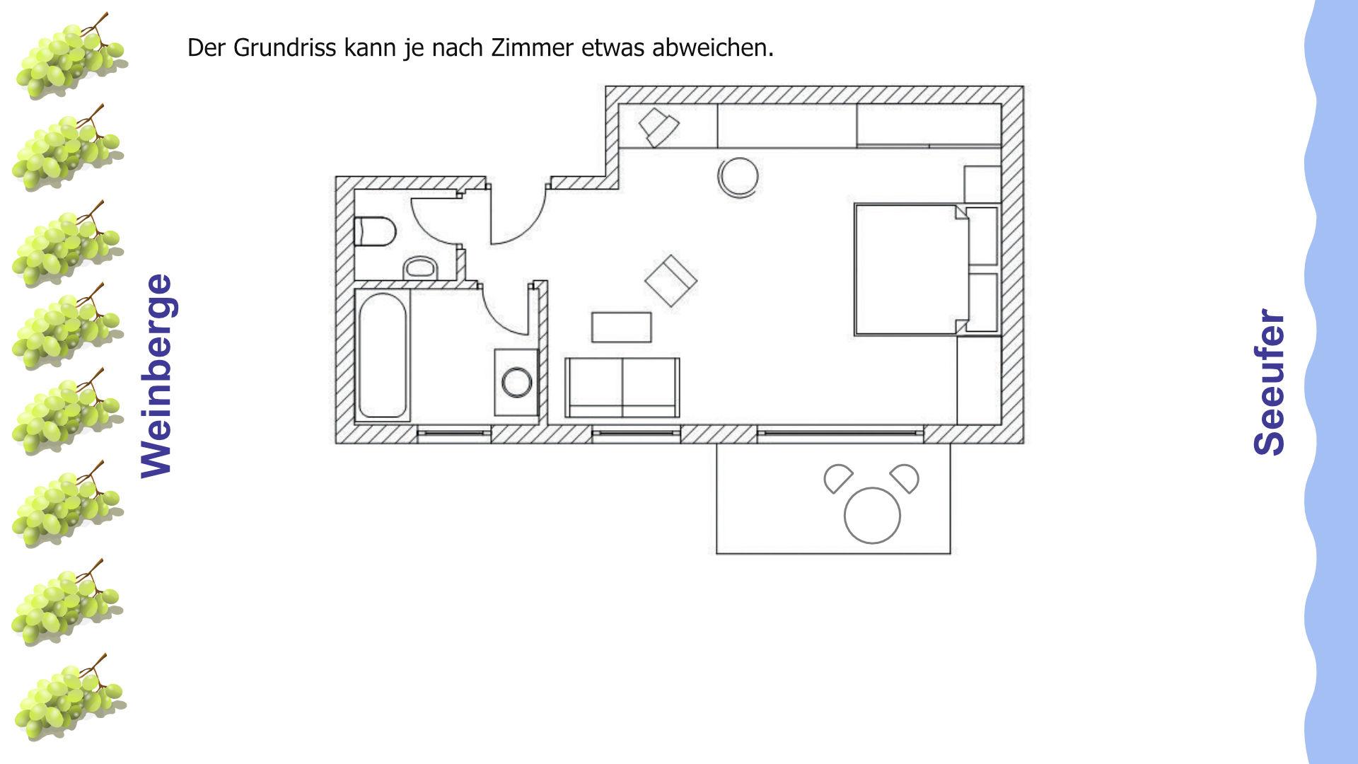 Grundriss große Doppelzimmer mit Balkon zur Seite und seitlicher Seesicht